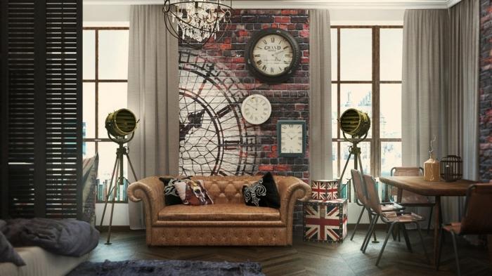 decoración vintage, salón moderno, sofá vintage en capitoné color ocre, pared con ladrillos dibujados, suelo de parquet