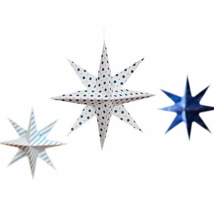 manualidades con papel, decoración de fiestas con grandes estrellas de papel colgantes, como hacerlas tutorial