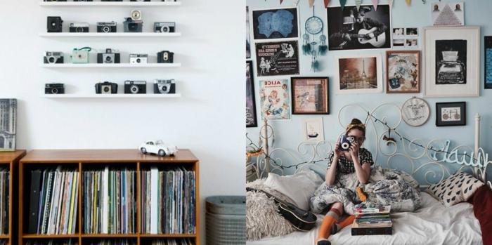 salones vintage, habitaciones decoradas con fotos cuadros y cámaras vintage, estilo inspirado en los años 90