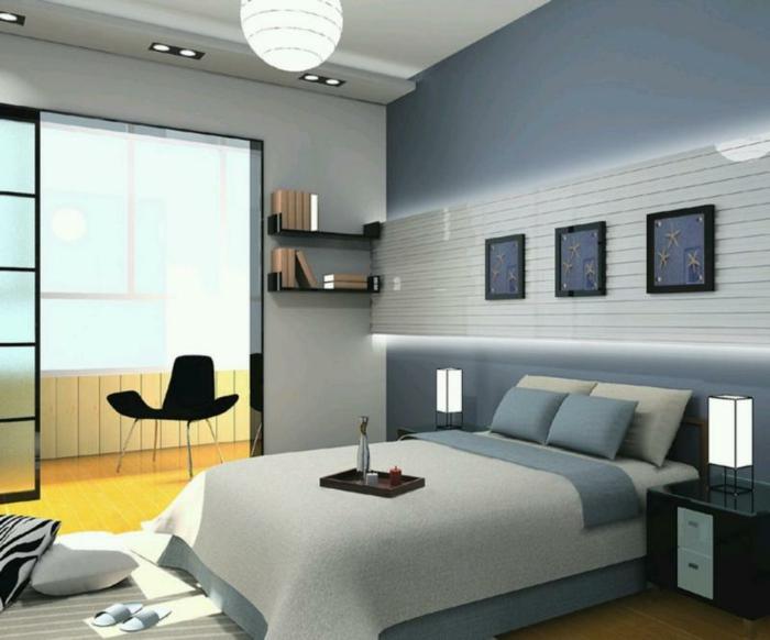 dormitorios matrimonio modernos, dormitorio en colores fríos, cama moderna con cobijas en azul y beige, lámparas empotradas
