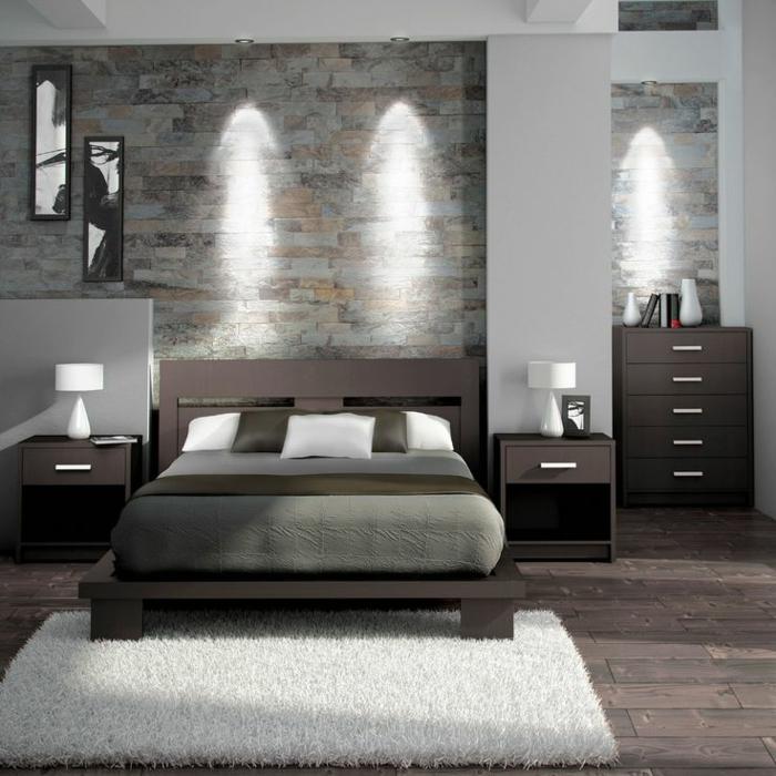 dormitorios matrimonio modernos, propuesta en gris y marrón, suelo de parquet y paredes de ladrillos en diferentes colores
