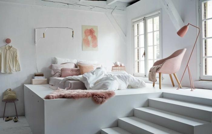 dormitorios matrimonio modernos, dormitorio modernos en colores pastel, elementos en color rosa en fondo blanco