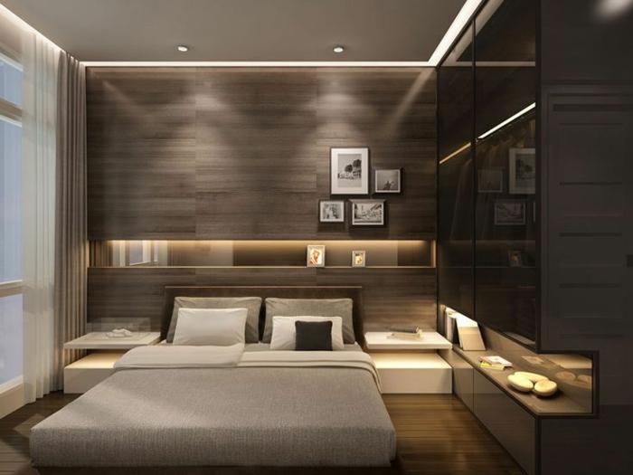 dormitorios matrimonio modernos, propuesta de habitación moderna decorada en gris y marrón, lámparas empotradas y cuadros decorativos