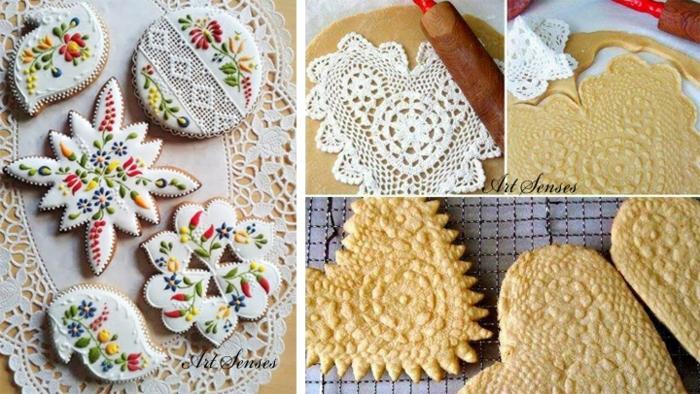 galletas de mantequilla receta, galletas de decoracion de encaje con decoracion que imita bordado, manualidades facioles de hacer