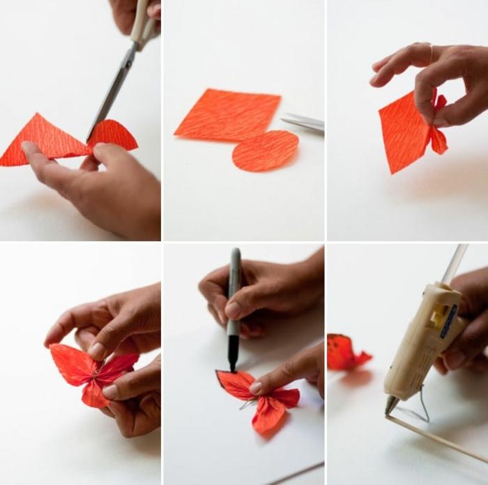 manualidades con cartulina, tutorial paso a paso para hacer mariposas con papel crepe naranjado y palitos de madera