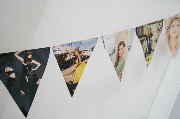 manualidades con cartulina, decoración de habitación con gurinalda hecha de revistas viejas, fotos de modelos