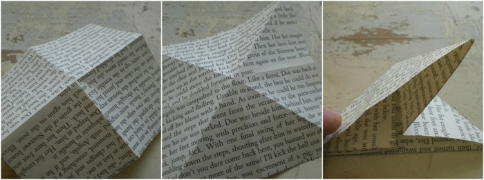 manualidades con cartulina, idea de mariposas hechas con papel de libro, origami sencillo, tutorial paso a paso