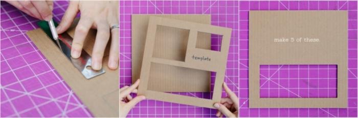 manualidades con cartulina, organizador de escritorio hecho con cartón, tres moldes diferentes, tutorial paso a paso