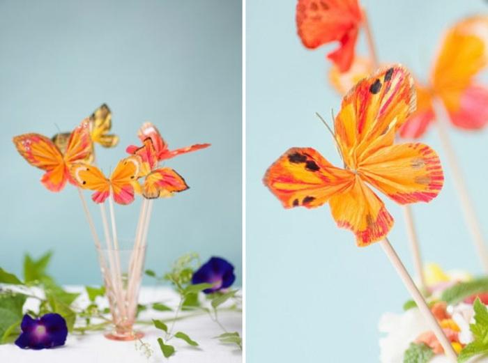 manualidades con carton, decoración de fiesta para mesas, mariposas de papel crepe en palitos de madera