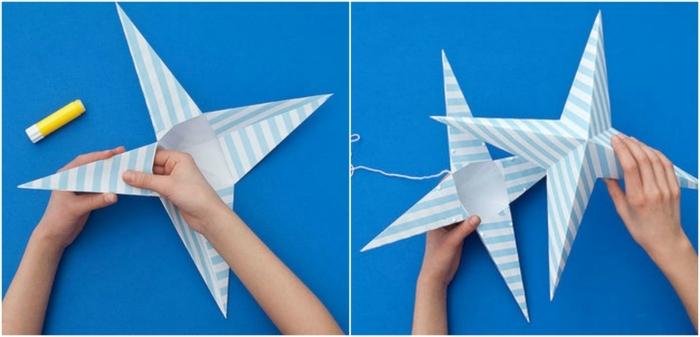 como hacer cosas de papel, como hacer una estrella grande colgante de papel con volumen, pegar las dos partes separadas