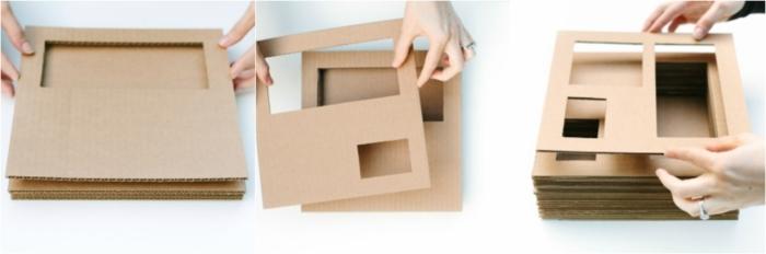 como hacer cosas de papel, hacer un organizador de escritorio con cajas de cartón recicladas, tutorial paso a paso