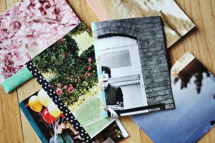 mariposas de papel, manualidades fáciles, cuadernos pequeños hechos a mano, diferentes cubiertas con fotos de revistas viejas