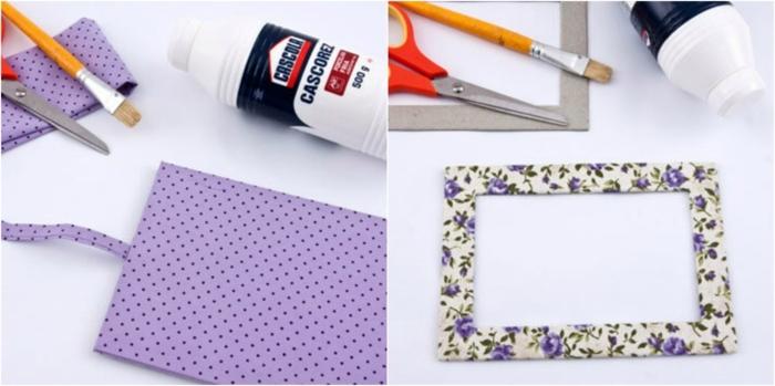 mariposas de papel, albúm de fotos original, tela con motivos florales, cartón reciclado, pinceles y pegamento