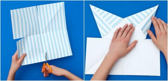como hacer cosas de papel, tutorial para hacer estrellas colgantes de papel en celeste azul y blanco, paso a paso