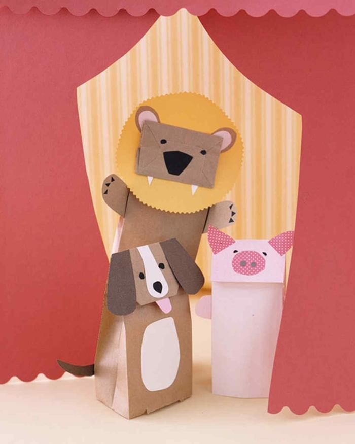 manualidades paso a paso, divertidos juguetes para niños hechos de bolsitas de papel kraft y cartulina, perrito, leon y cerdo