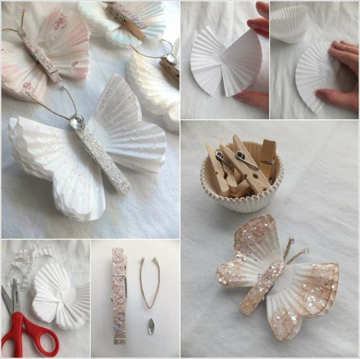 manualidades paso a paso, tutorial para hacer mariposas blancas con purpurina, amnualidad con papel de magdalenas y pinzas de madera