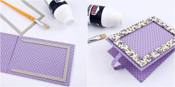 manualidades paso a paso, idea de albúm de fotos en púrpura con motivos florales, pegamento y pinceles para decorar