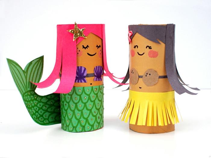 manualidades de papel, muñeca hawaiana y sirenita hecha de conos de papel higiénico y decorados con papel de colores