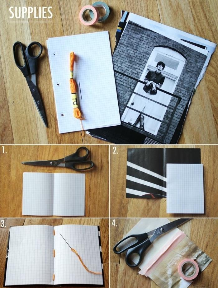 manualidades de papel, pasos para hacer un cuaderno cosido a mano con cuebierta de páginas de revistas viejas, tutorial