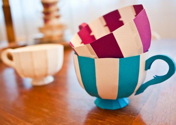 manualidades con papel de priódico, manualidad para niños y mayores, tazitas de té de colores hechos con cartulina
