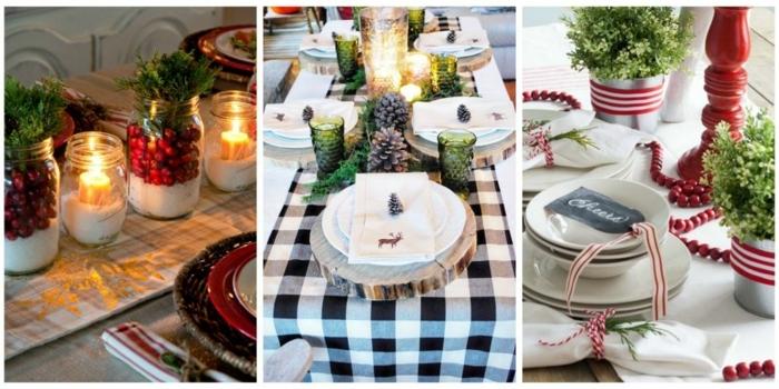 mesa de navidad, tres propuestas de centros de navidad elegantes, detalles en rojo, blanco y negro