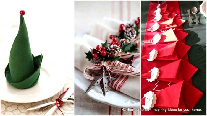 centros navideños, tres ideas diferentes para doblar las servilletas de navidad decorativas