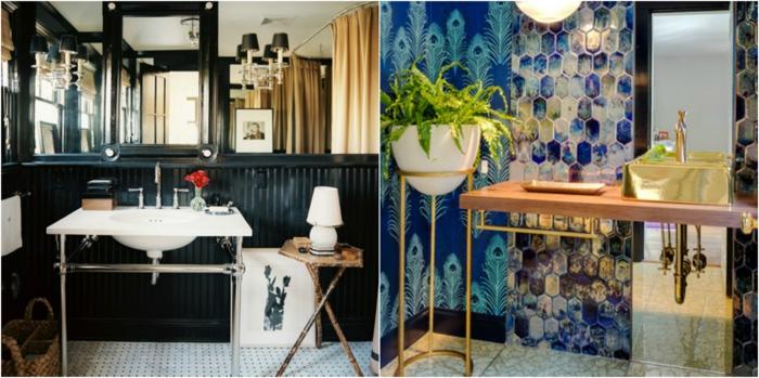 como decorar un baño, dos ejemplos de baños eclécticos, ejemplo en negro sofisticado y otro con mezcla de patrones