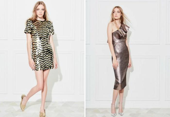 vestidos de coctel, dos vestidos elegantes en matices metálicos, pelo suelto, zapatos elegantes