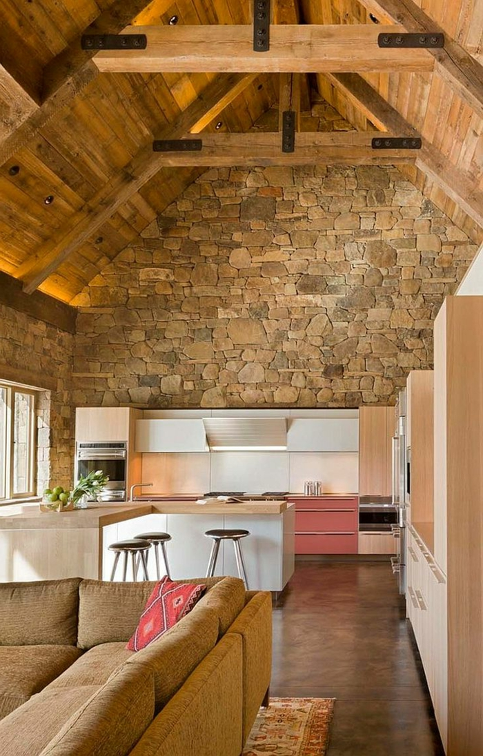 1001 ideas de decoraci n con pared de piedra o ladrillo - Decoracion de techos rusticos ...