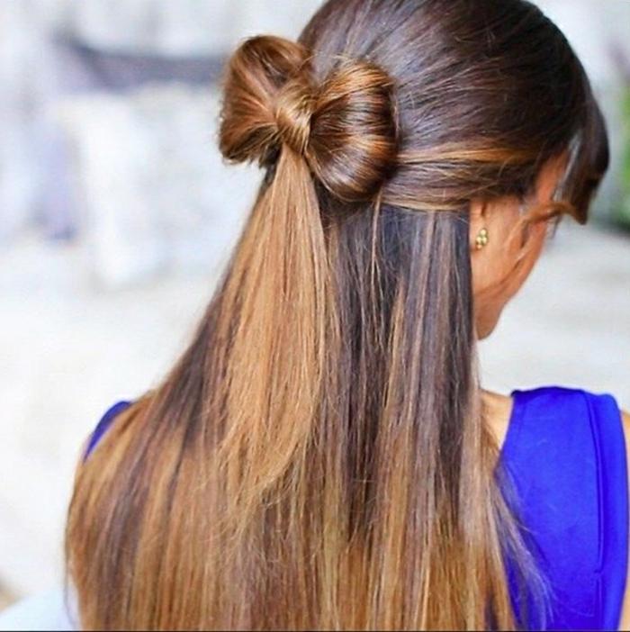 recogidos de fiesta, semirecogido con moño, ideas para peinados de nochevieja, pelo largo castaño alisado