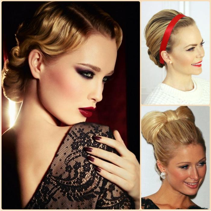 recogidos de fiesta, tres propuestas elegantes de recogidos de pelo, cabello largo rubio, accesorios de pelo