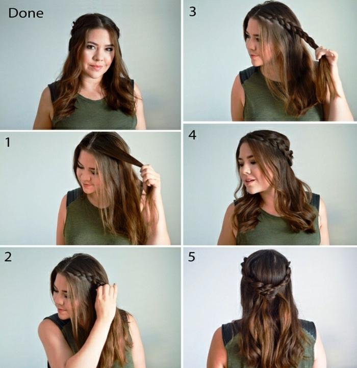 peinados faciles pelo largo, semirecogido fácil de hacer con diadema de trenza, ideas para pelo de longitud media