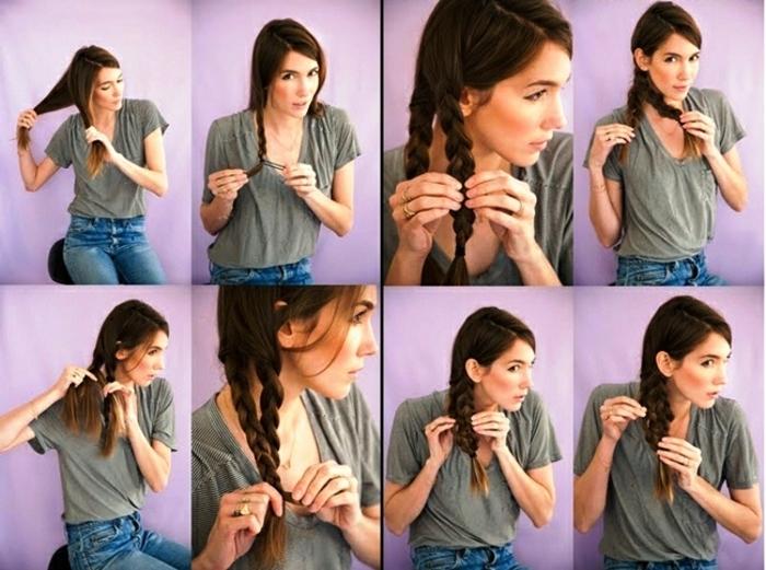 peinados faciles pelo largo, tutorial para un peinado original con trenza triple, instrucciones paso a paso