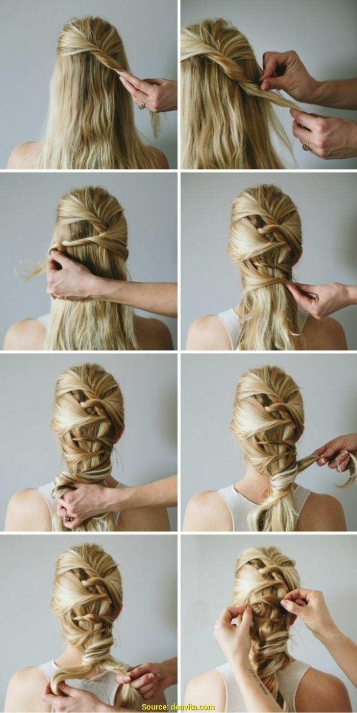 peinados faciles pelo largo, como hacer un peinado con pelo recogido con muchas trenzas, instrucciones paso a paso