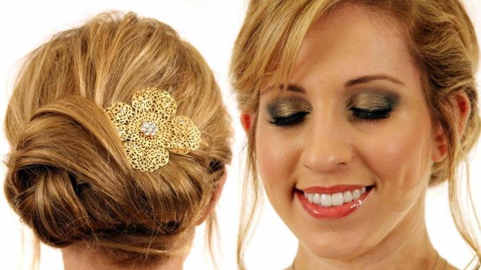 peinados para media melena, recogido en moño con accesorio de pelo dorado, cabello largo rubio