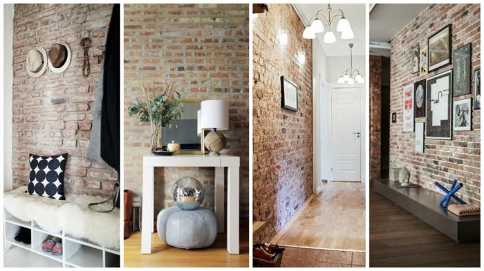 muebles recibidor, cuatro propuestas de recibidores modernos largos y estrechos con pared de ladrillo visto