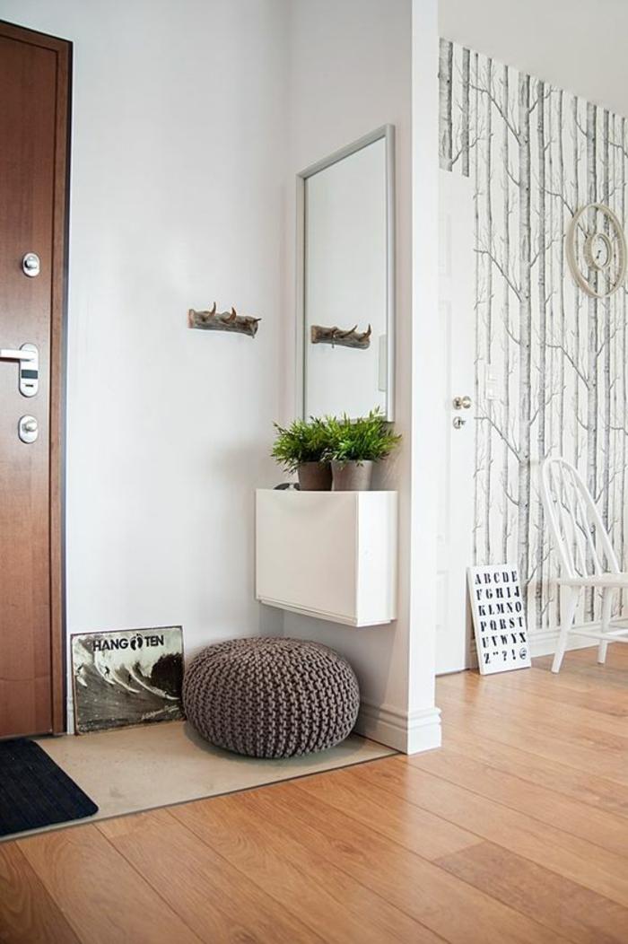 muebles recibidor, recibidor pequeño con espejo rectangular, puf tejido y plantas verdes, ganchos de pared