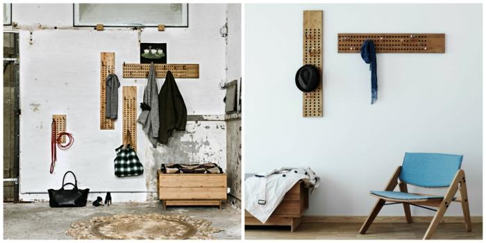 1001 ideas de recibidores originales con encanto - Perchas pared originales ...