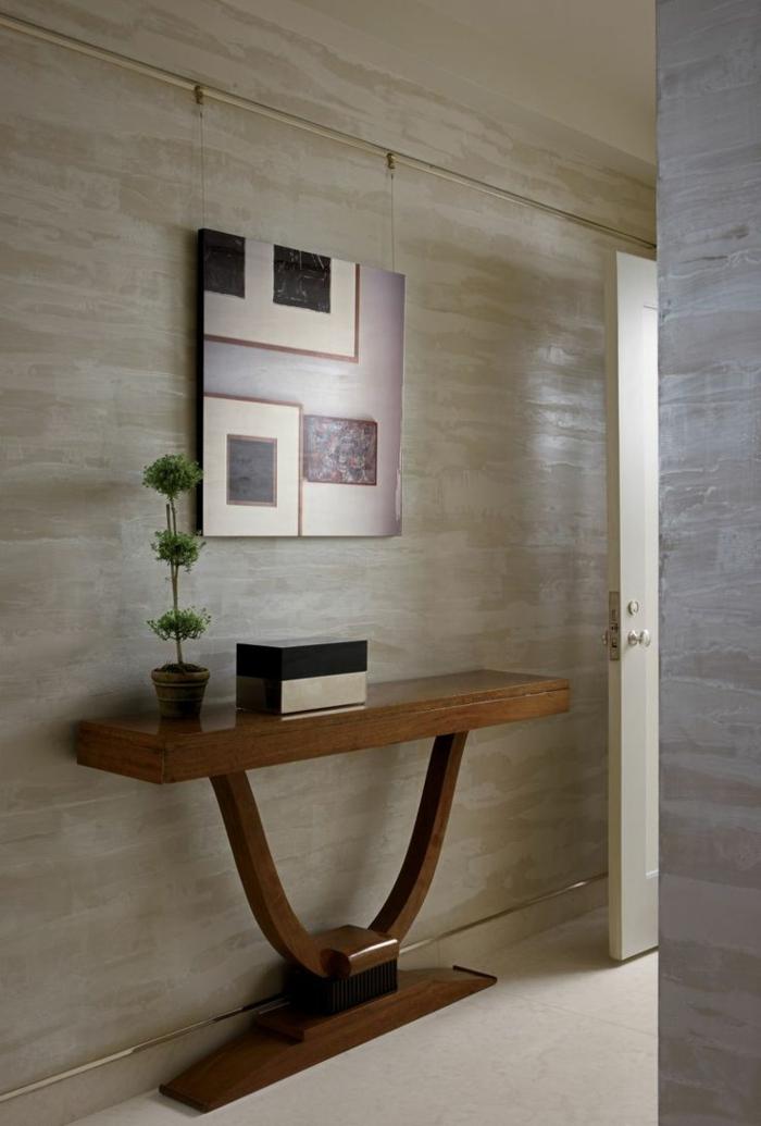recibidores, casa moderna, recibidor en el pasillo con aparador de madera, cuadro con figuras geométricas y planta verde