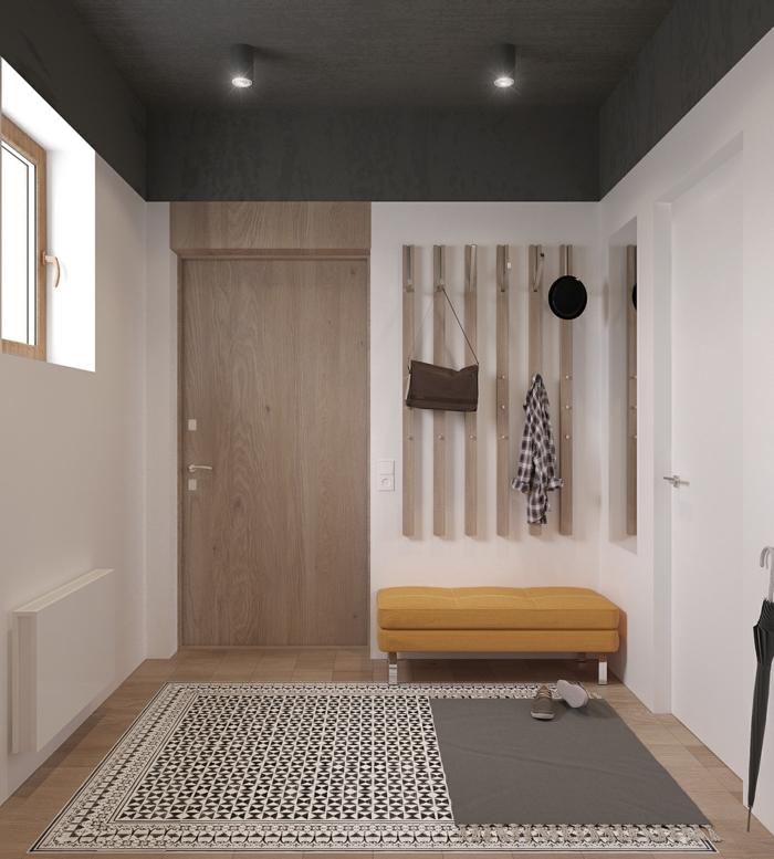 muebles de entrada, recibidor grande moderno, madera clara, banco tapizado amarillo, ventana pequeña, alfombra
