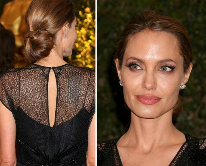 peinados con coleta, Angelina Jolie con un vestido negro elegante y pelo recogido en moño, cabello castaño largo