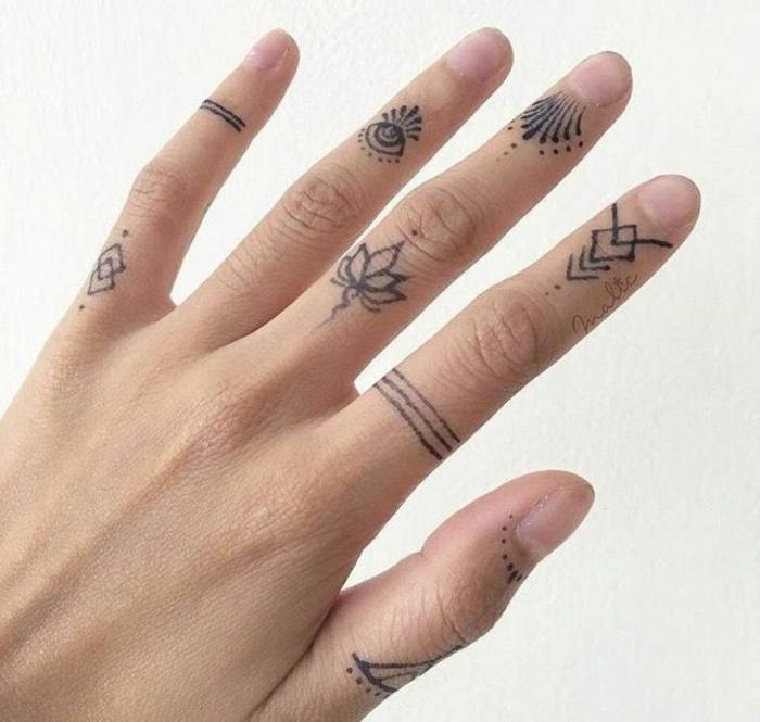 tatuajes en la muñeca, mano de mujer, diferente tatuaje en cada dedo, el ojo de la providencia, motivos florales, tatuaje de anillo