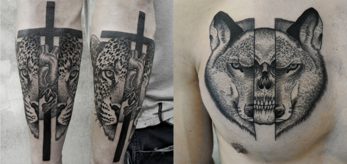 mejores tatuajes, tatuaje surrealista grande, cabezas de laopardo con corazon y calavera dentro, pecho y mano hombre