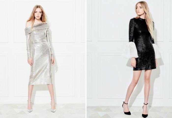 vestidos de coctel, ideas en plateado y negro, vestidos con brillo 2018, pelo suelto, zapatos con correas en el tobillo