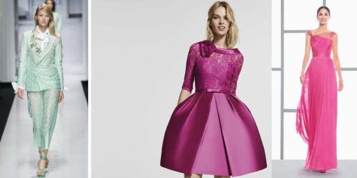 vestidos de noche, tres propuestas de atuendos de boda en color menta y morado, ideas coloridas para invitadas de bodas de verano