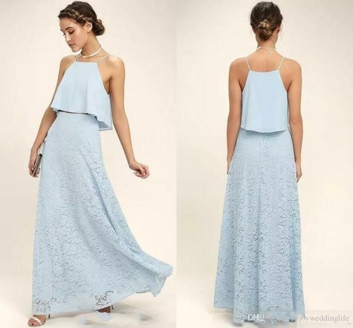 vestidos boda, dos propuestas refinadas en azul suave, vestido en dos partes, falda de encaje, parte superior con correas delgadas