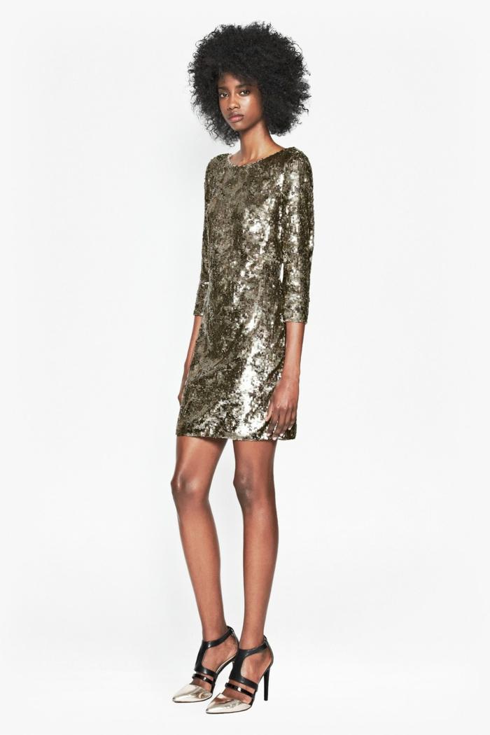 vestidos de fiesta baratos, propuesta con brillo en bronce, longitud corta, zapatos chic en negro y bronce