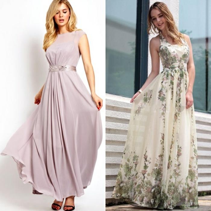 vestidos boda, dos vestidos largos en rosado y beige con toque romántico, cabellos sueltos ondulados