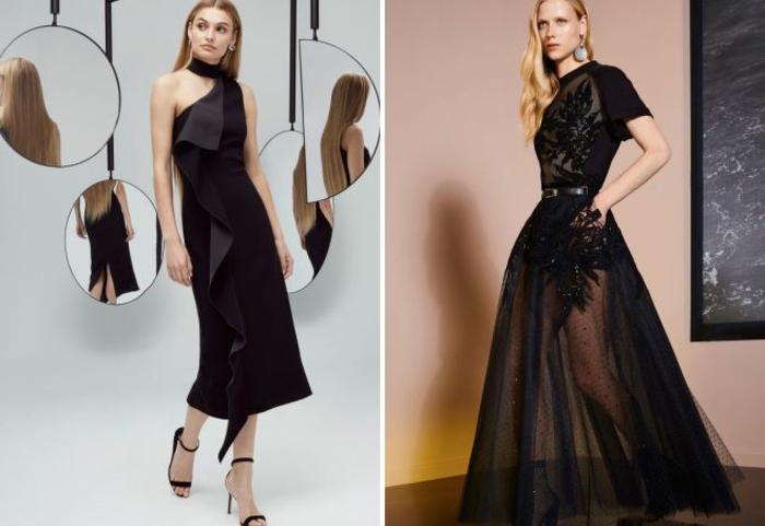 nochevieja 2017m propuestas elegantes en negro con volantes y cortes asimétricos, pelo largo rubio