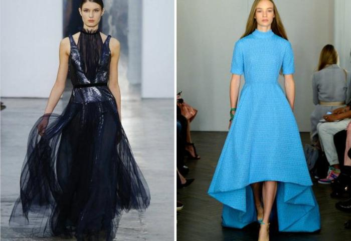 nochevieja 2017, ideas aireadas en negro, plateado y azul, vestidos elegantes extravagantes